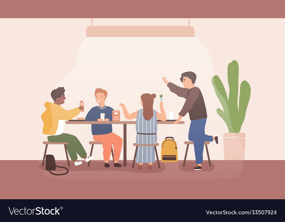 Adolescent children spend time together during