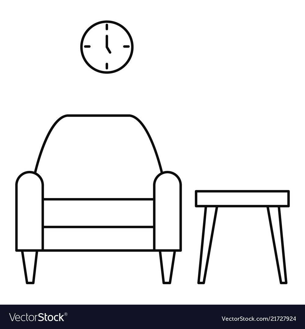 Armchair and table icon outline style