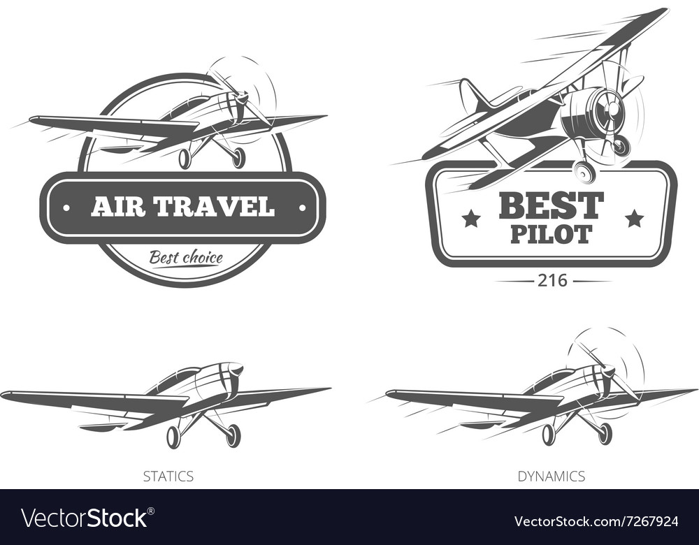 Aviation badges logos emblems labels vector image