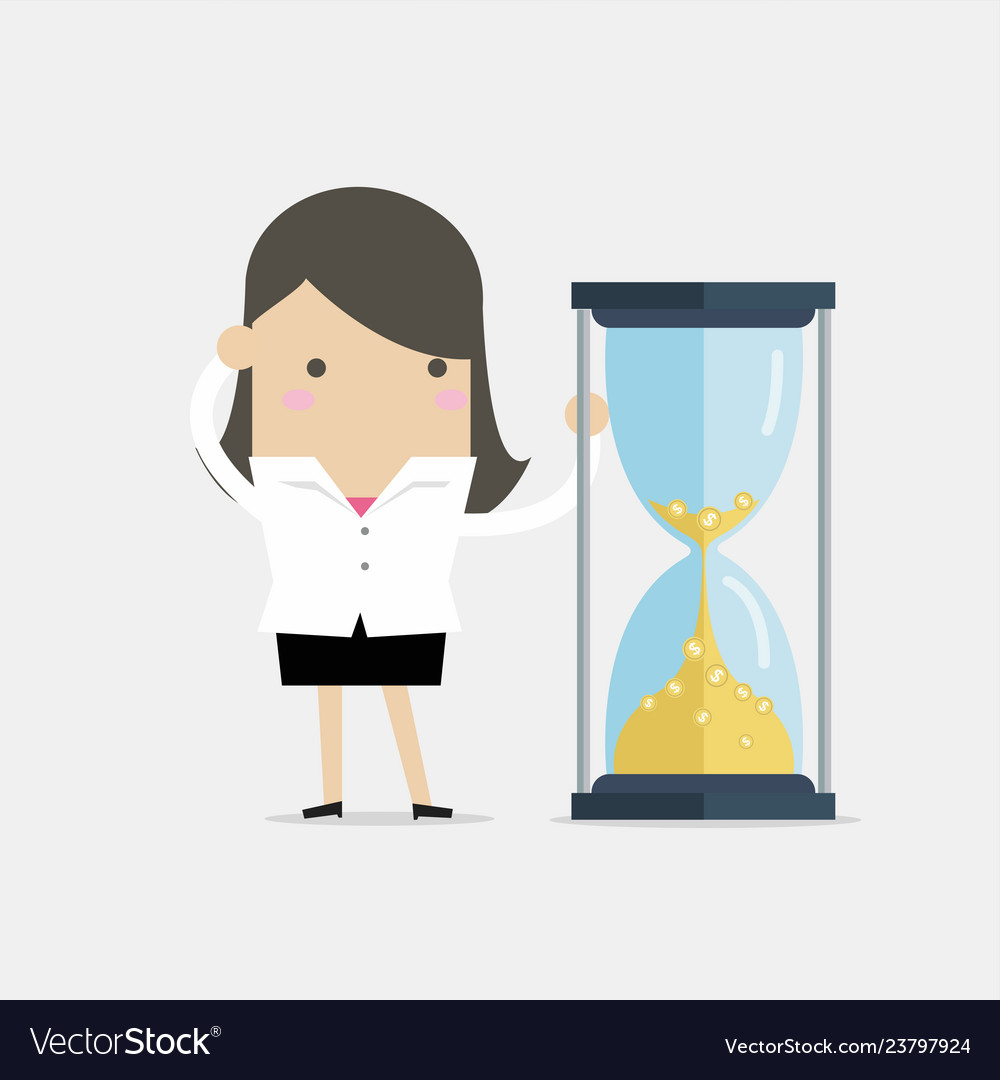 Businesswoman is looking at hourglass