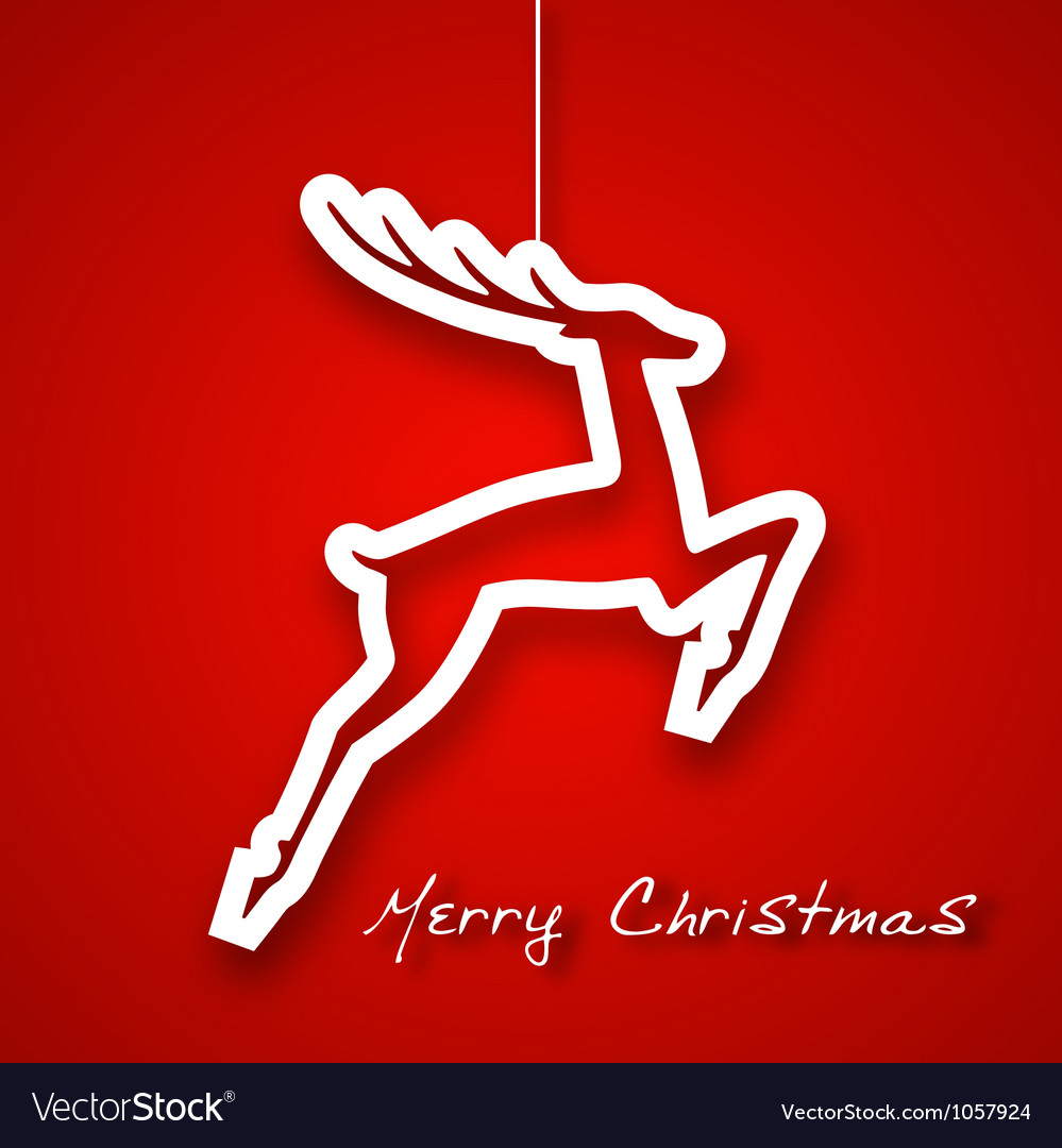 Christmas jump deer applique background vector image