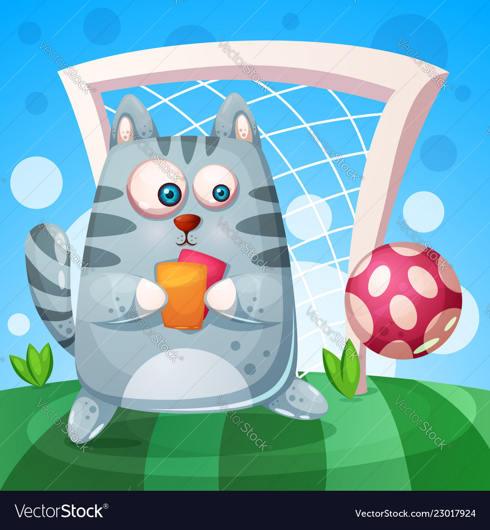 Cute cat with rad yellow card play football