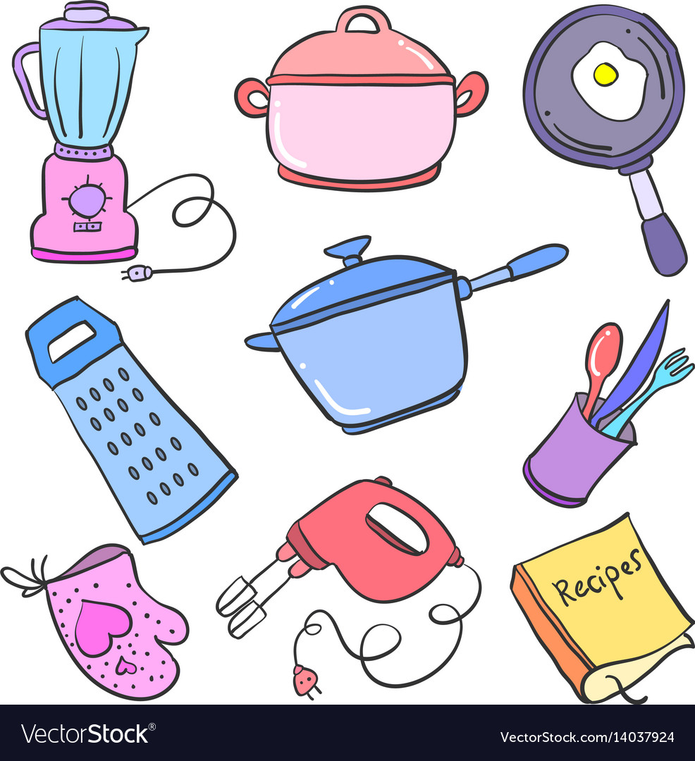 Doodle Of Kitchen Set Object Collection Royalty Free Vector