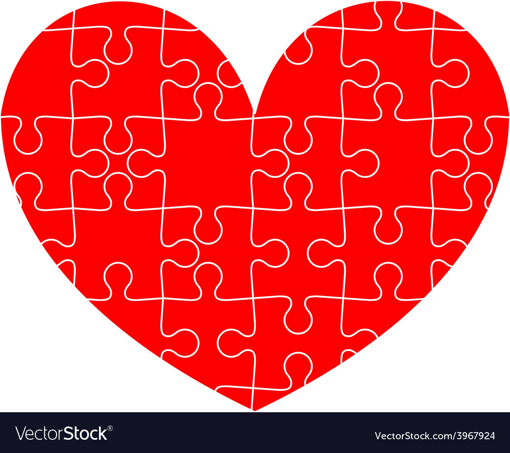 Jigsaw puzzle in red heart Royalty Free Vector Image