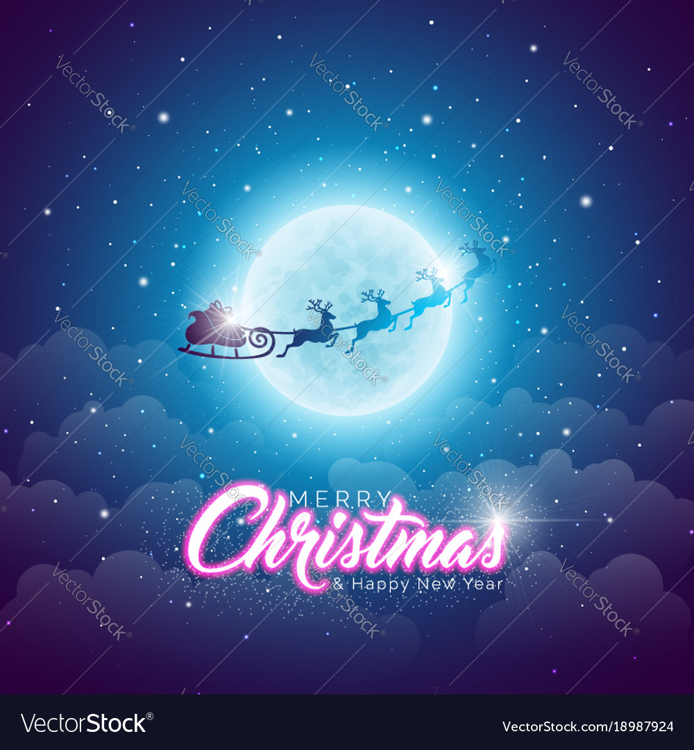 Merry christmas with flying santa in