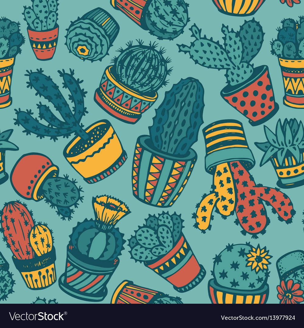 Seamless pattern with hand drawn cactus