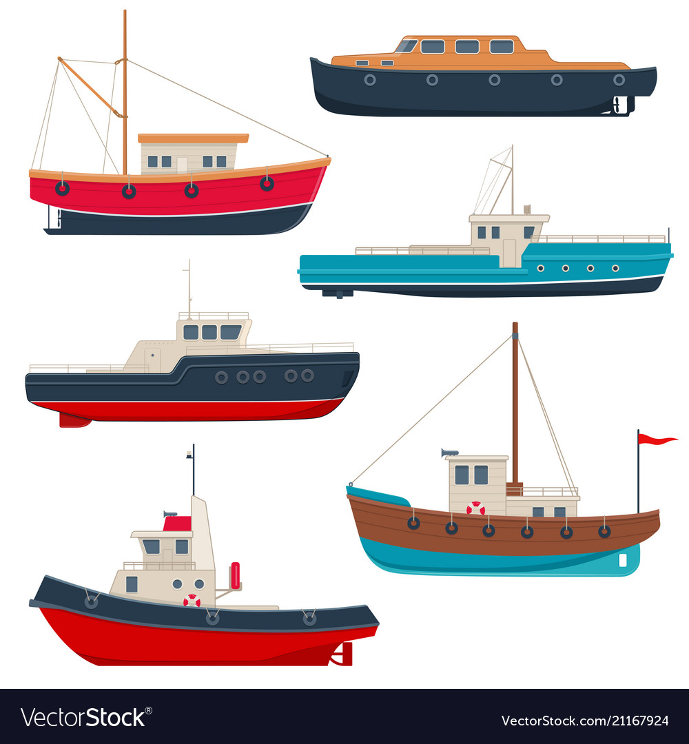 set of different working fishing boats and launch vector image