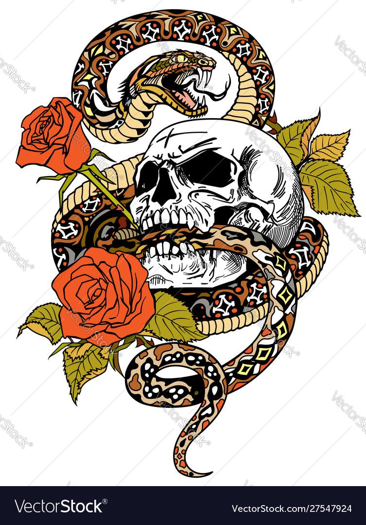 Snake skull roses tattoo