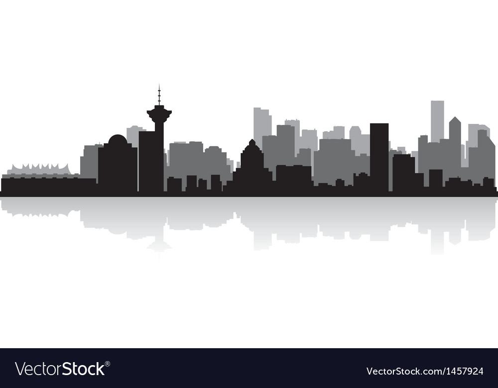 Vancouver Canada city skyline silhouette vector image