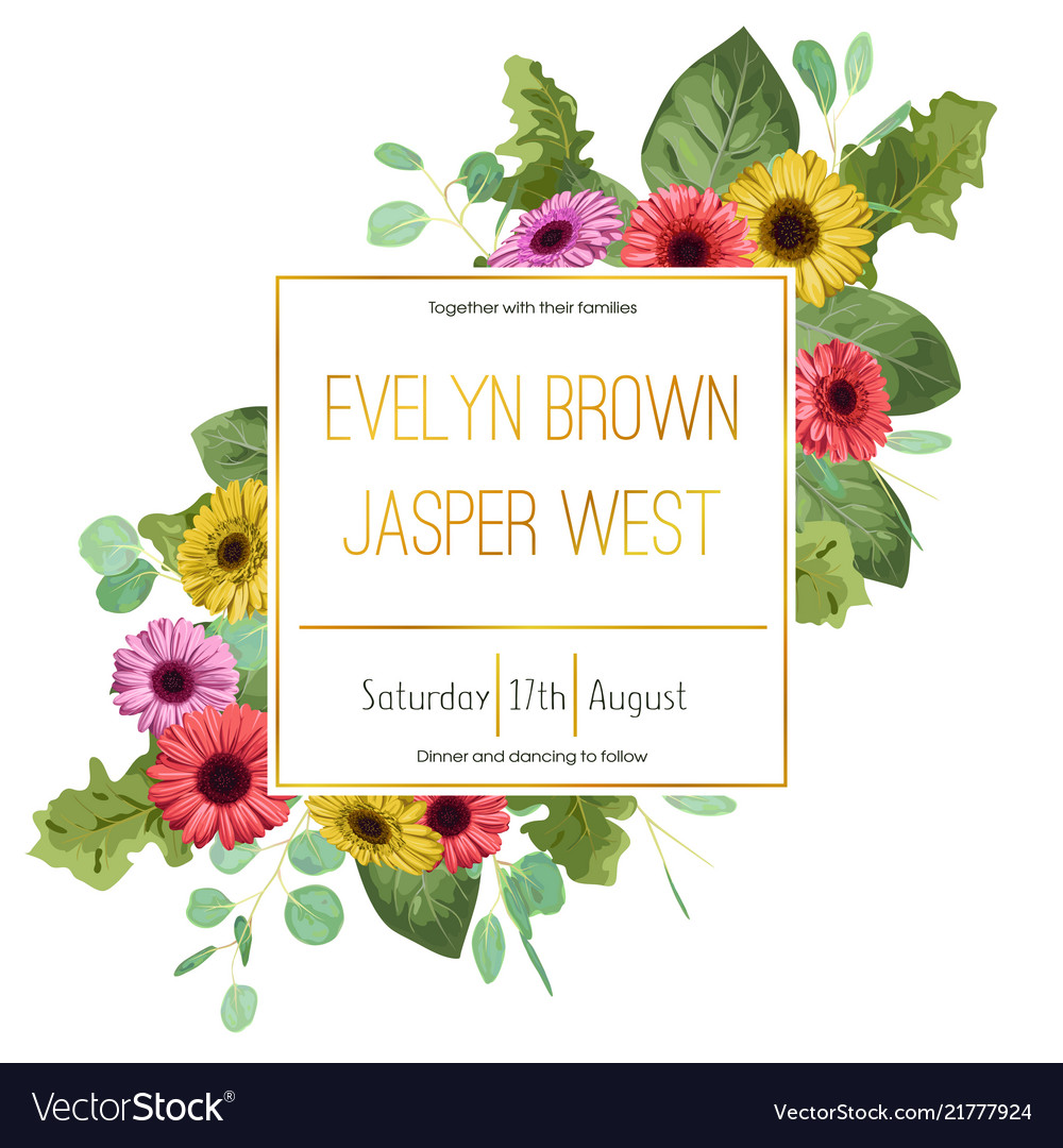 Wedding floral invitation invite card