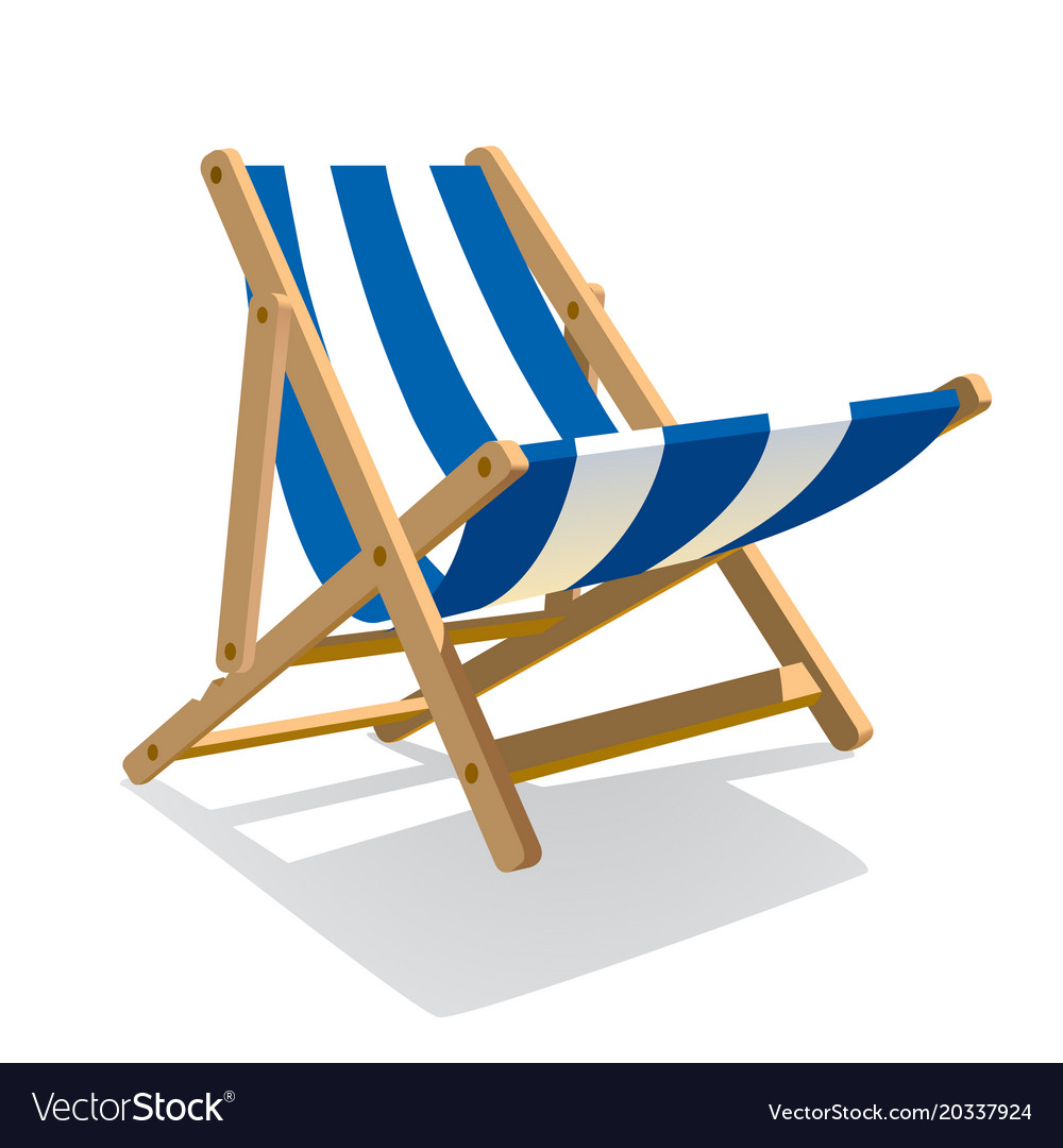 Fabulous Wooden Beach Blue Striped Deck Chair Isolated On Caraccident5 Cool Chair Designs And Ideas Caraccident5Info