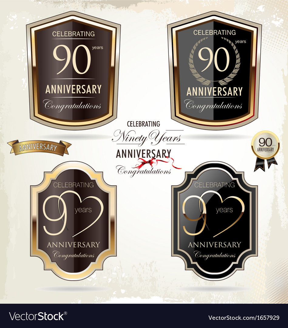 90 years Anniversary labels vector image