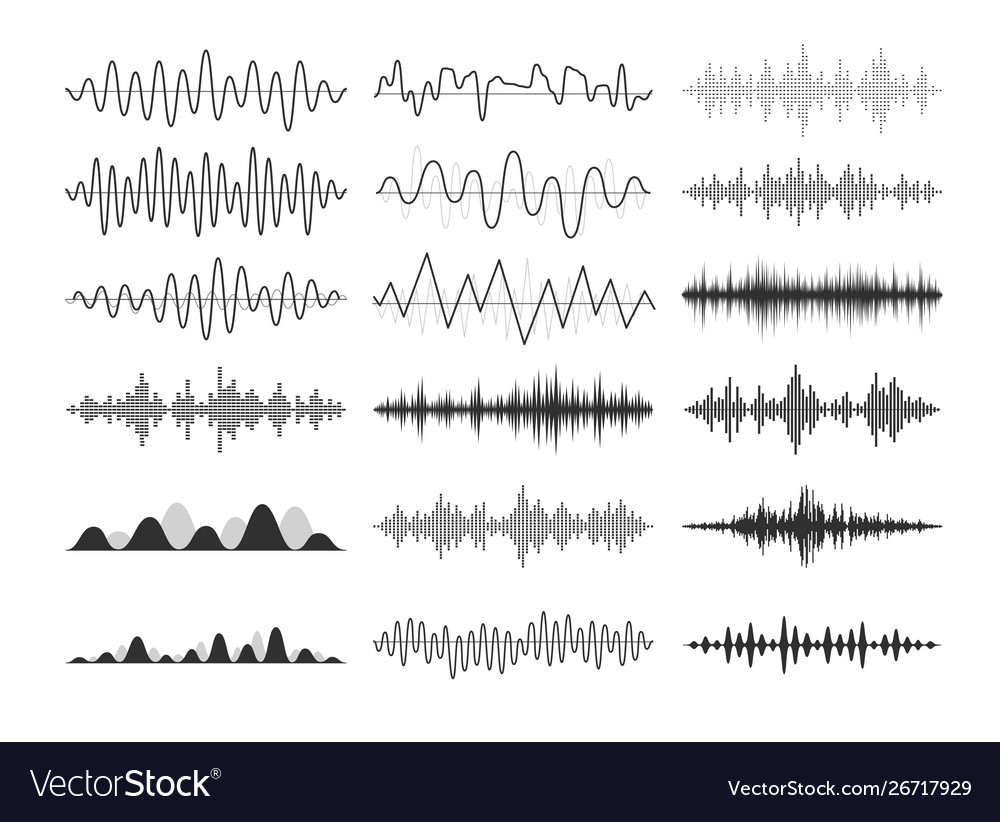 Black musical sound waves audio frequencies