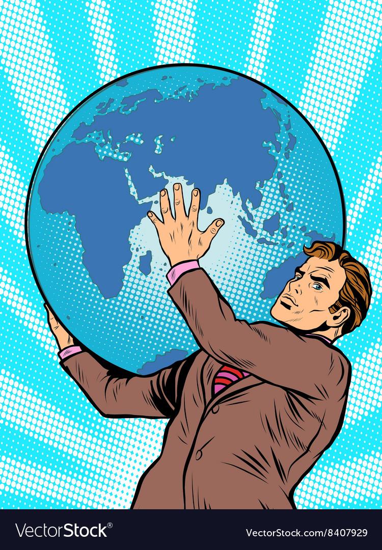 Businessman titan atlas holds earth
