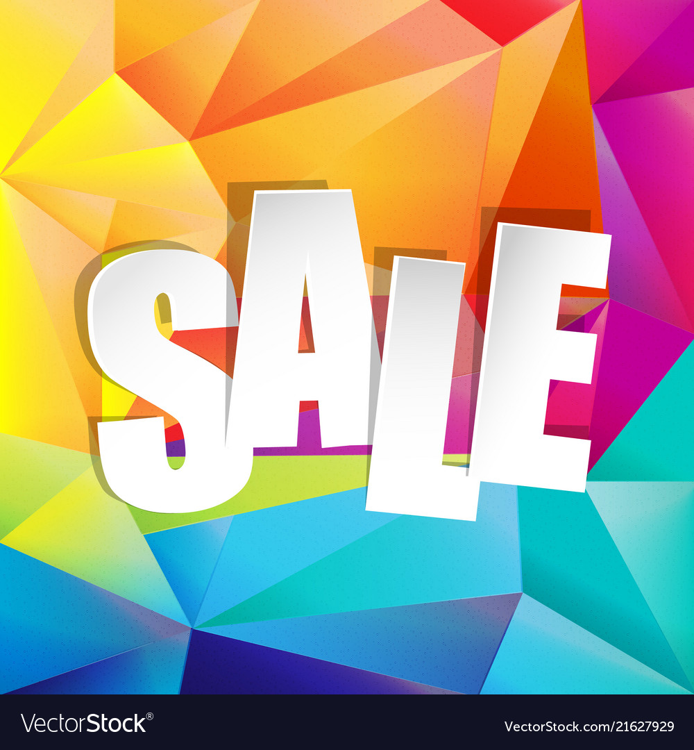 Colorful origami background with sale text