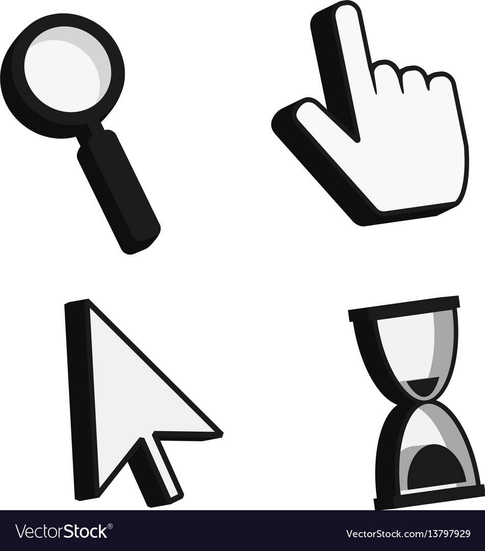 Cursor icons 3d finger arrow magnifying glass