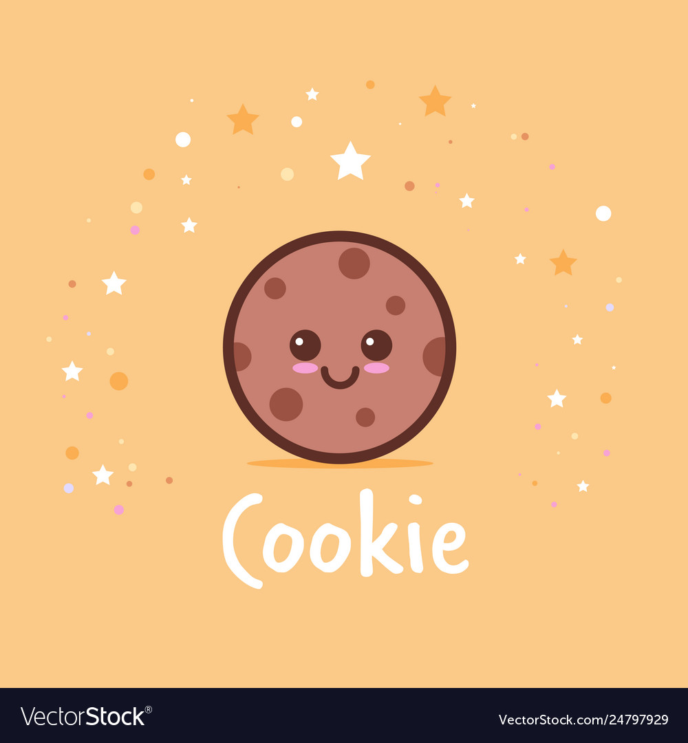 Cute chip cookies cartoon comic character with