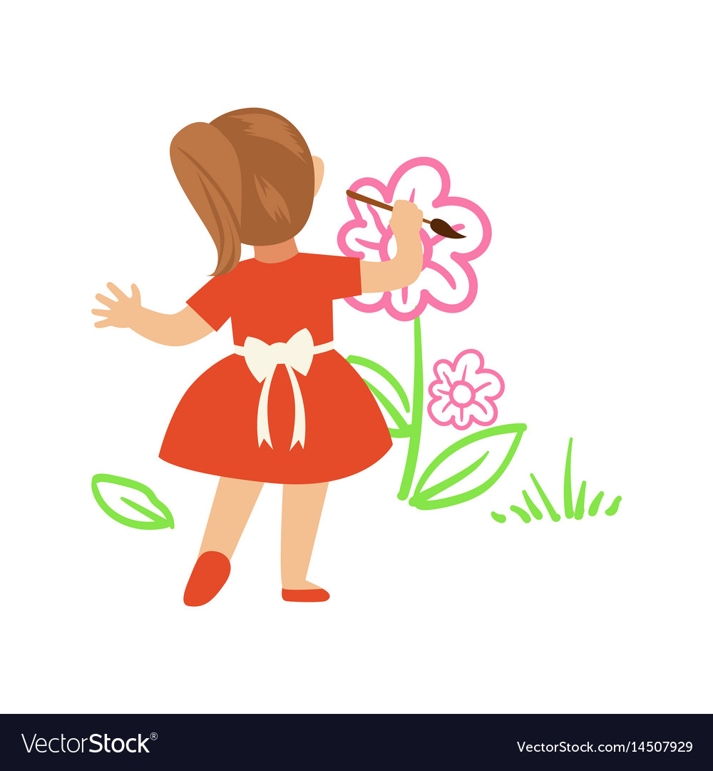 Cute little girl in red dress painting flowers on