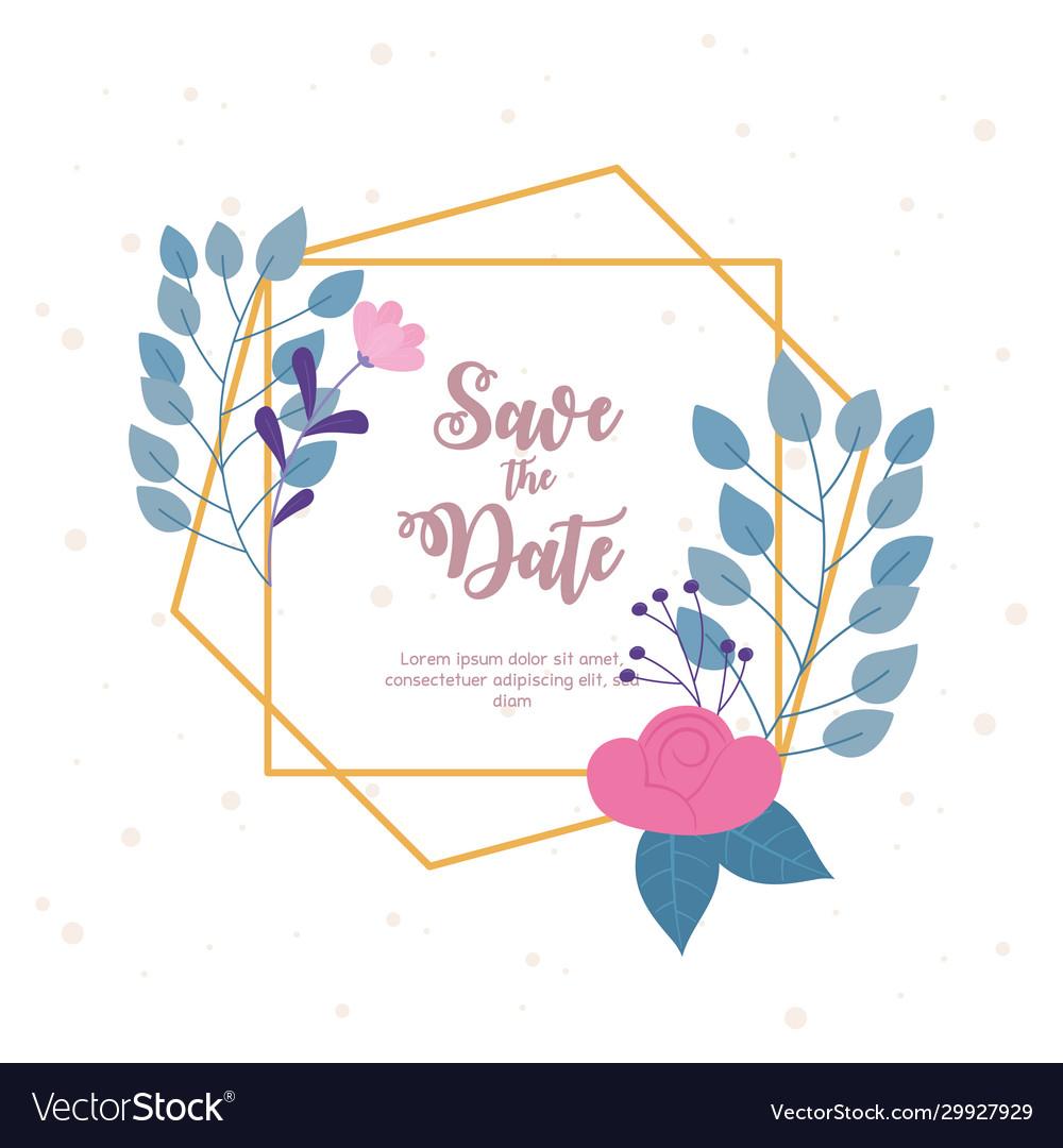 Flowers wedding save date invite decorative