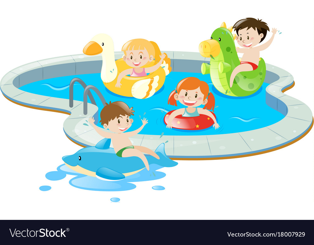 Four kids having fun in the pool Royalty Free Vector Image