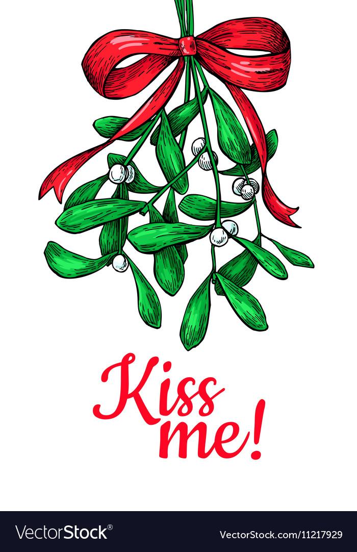 Kiss me under Mistletoe Christmas card with decor