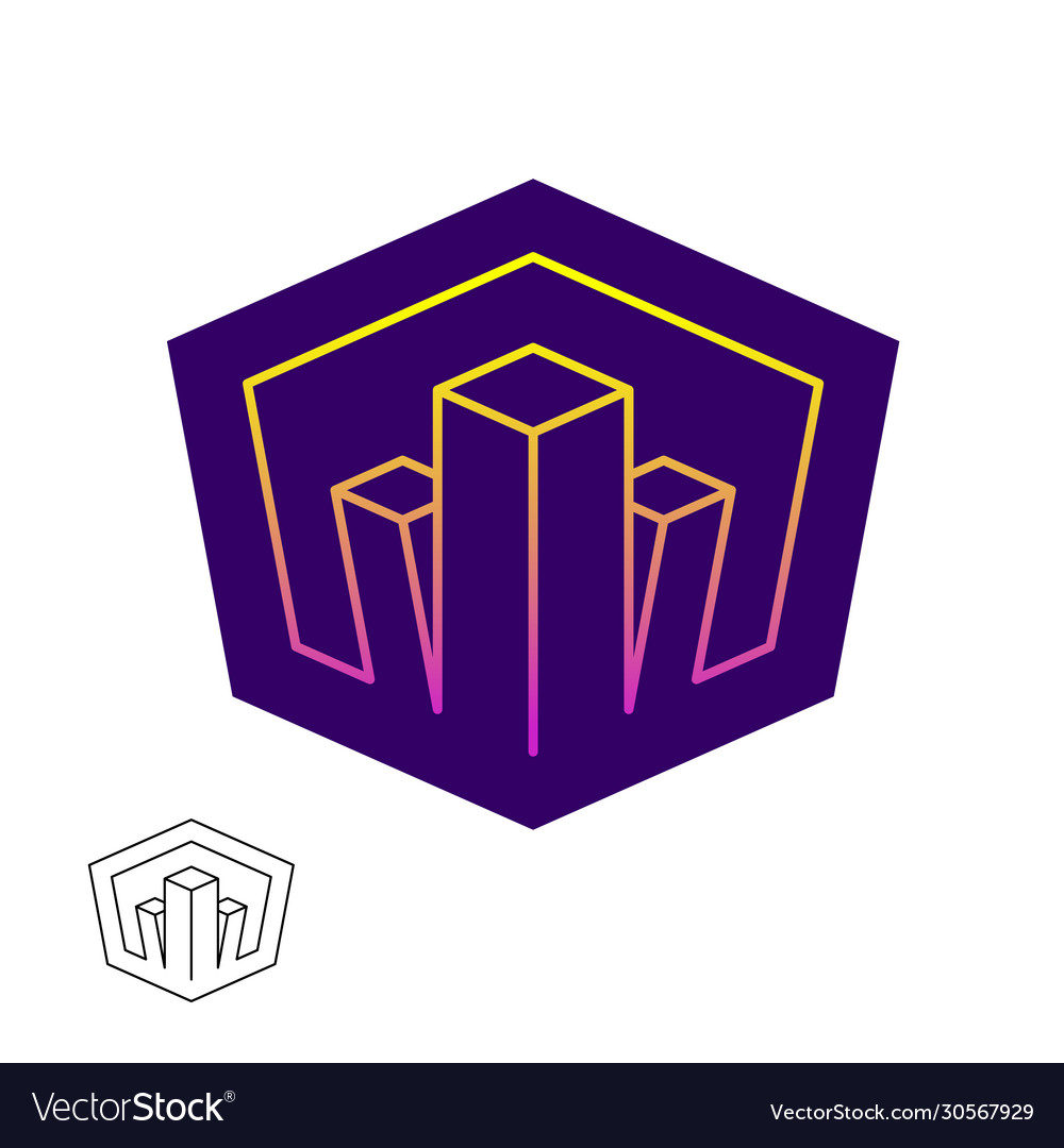 Real estate logo with city buildings in a gradient