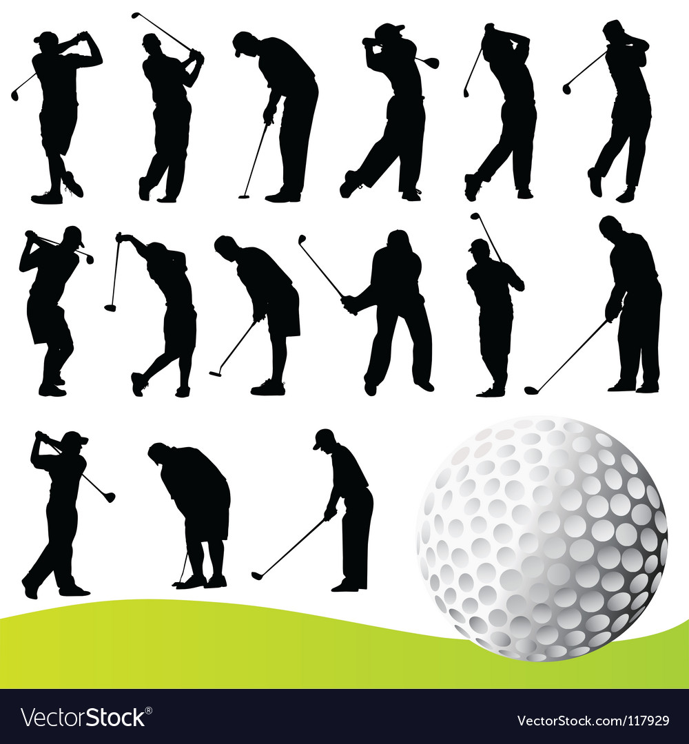 Set of golf player