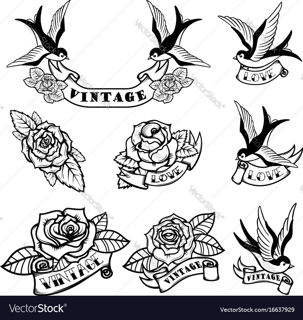 Set Of Tattoo Templates With Swallows And Roses Vector Image