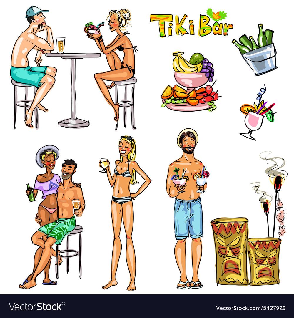 Tiki Bar Collection Hand drawn