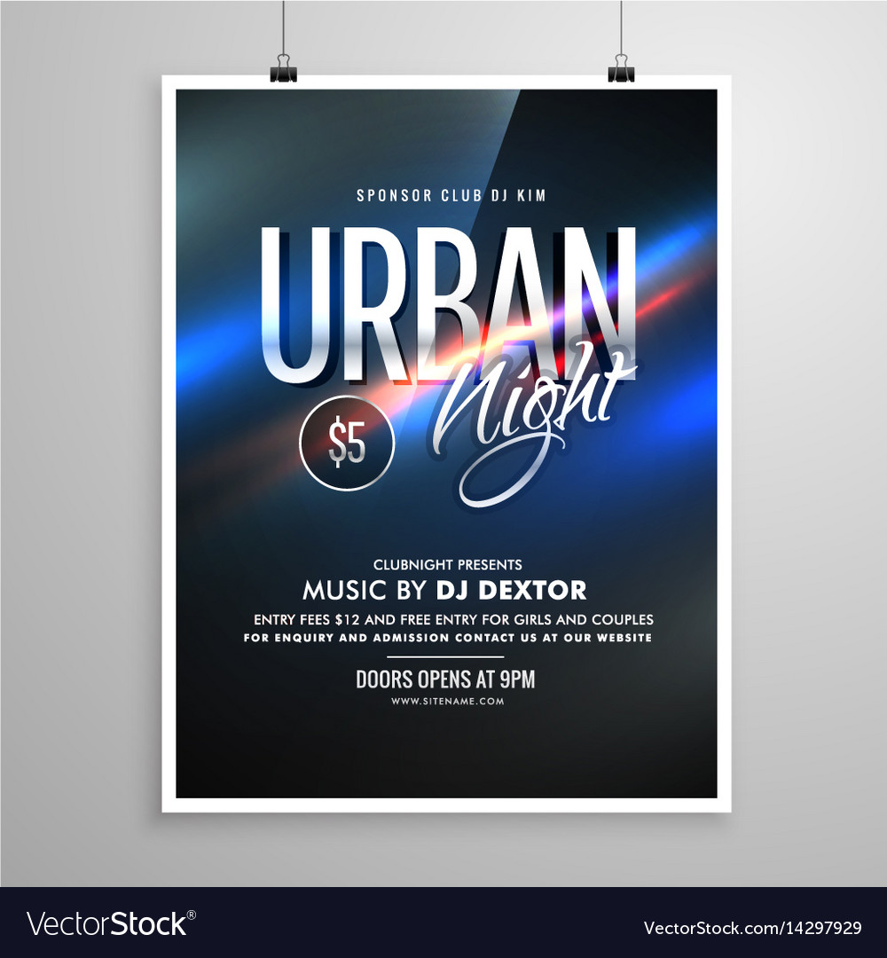 Urban night flyer music template poster Royalty Free Vector