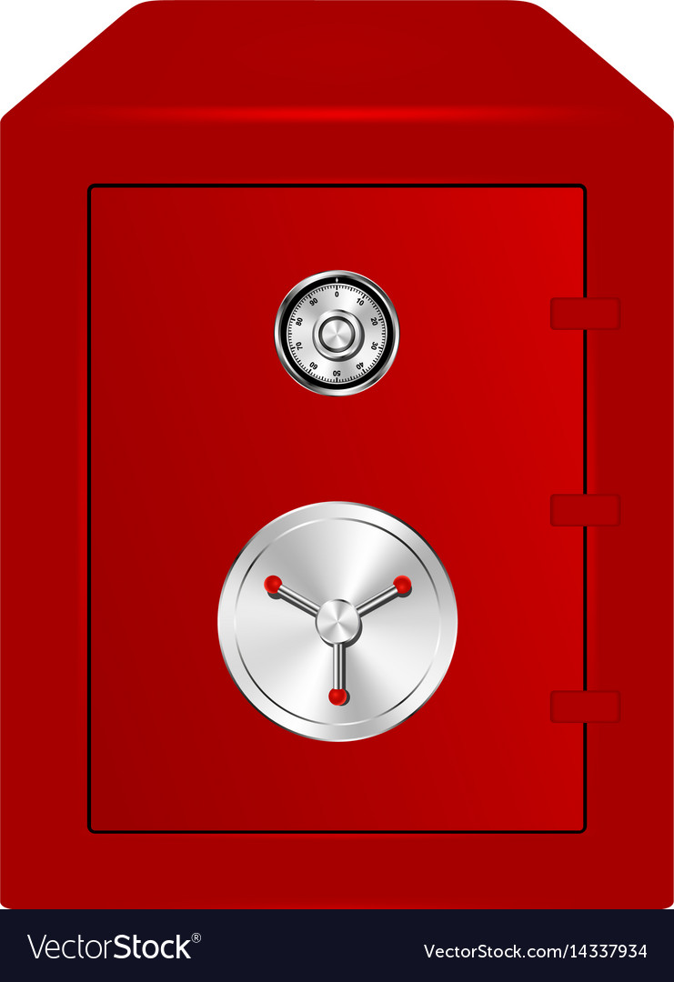 Bank safe in red design with combination lock