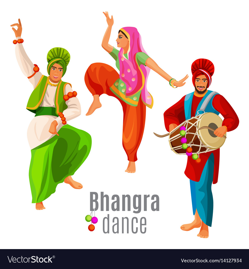 Bhangra dance concept men and woman in national