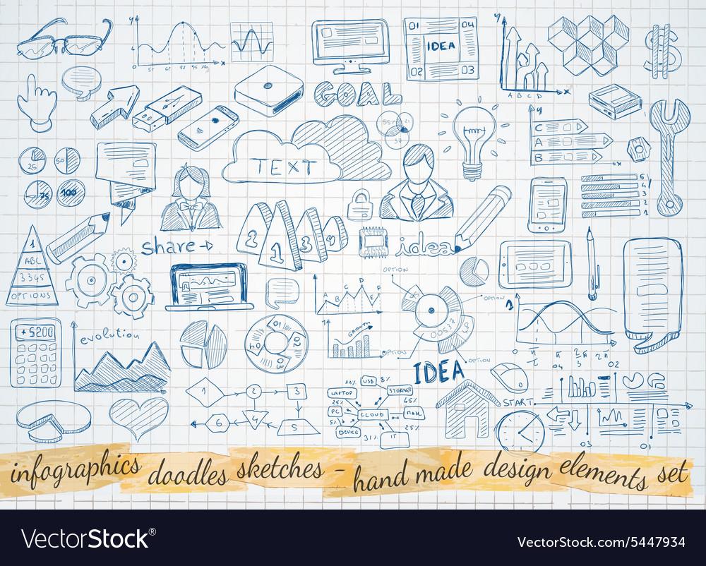 Business doodles Sketch set infographics elements
