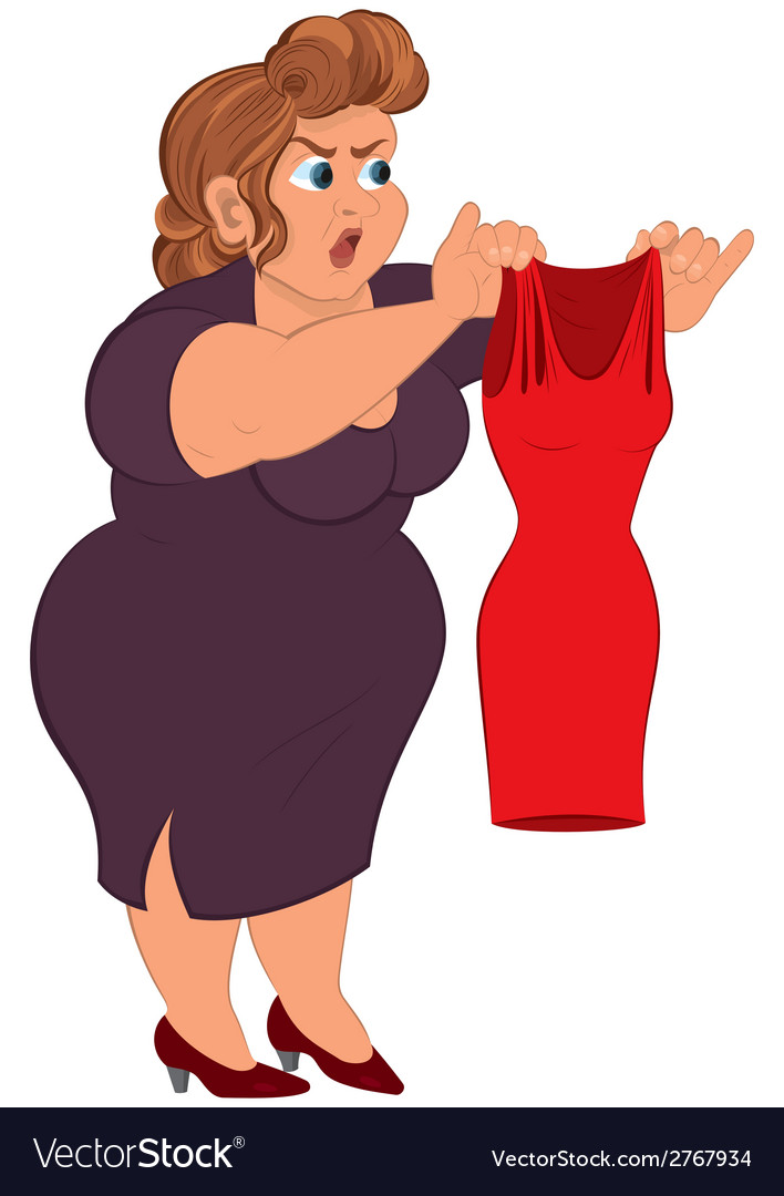 cartoon fat woman in purple dress holding small vector image rh vectorstock com Ugly Women Cartoon Fat Cartoon Characters