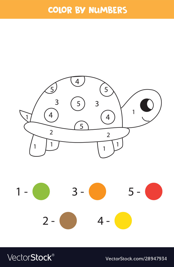 Color Cute Cartoon Turtle Numbers Coloring Pag Vector Image