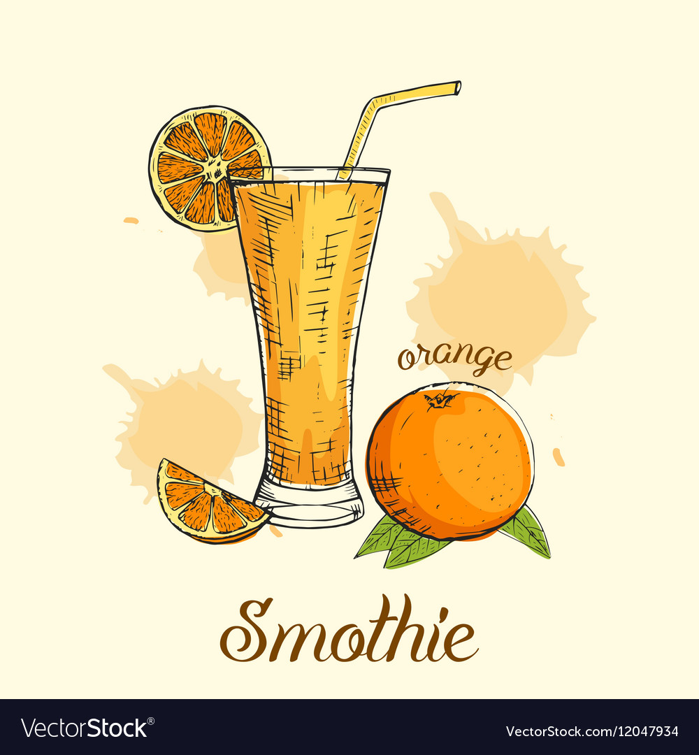 Creative orange smoothie in glass with straw