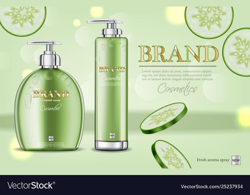 Cucumber soap and shampoo realistic