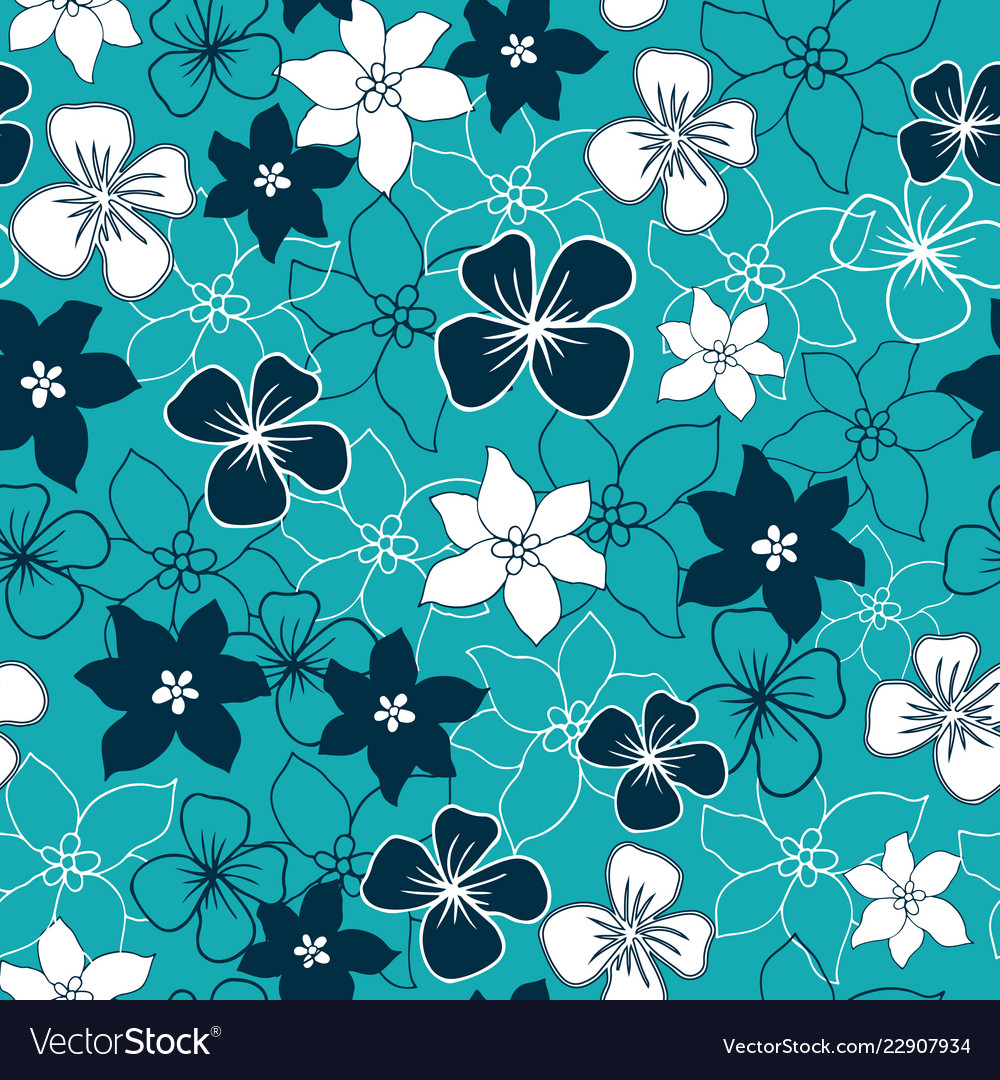 Dark blue and white flower mix seamless pattern