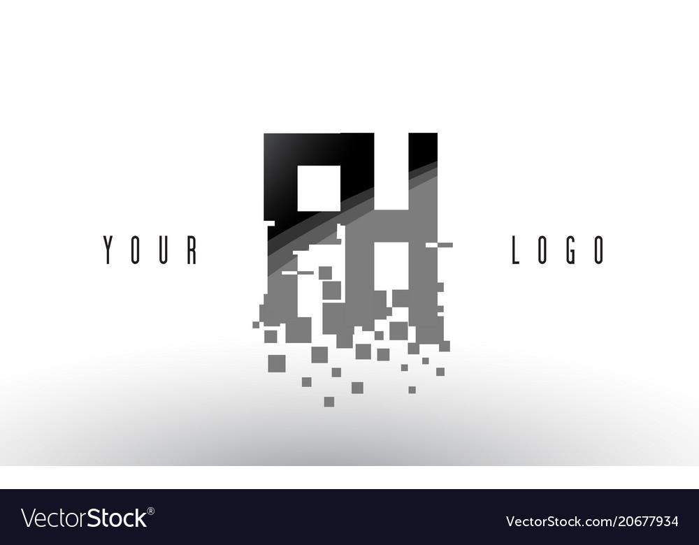 Fh f h pixel letter logo with digital shattered
