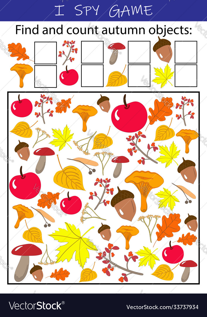 I spy autumn objects - educational game for kids