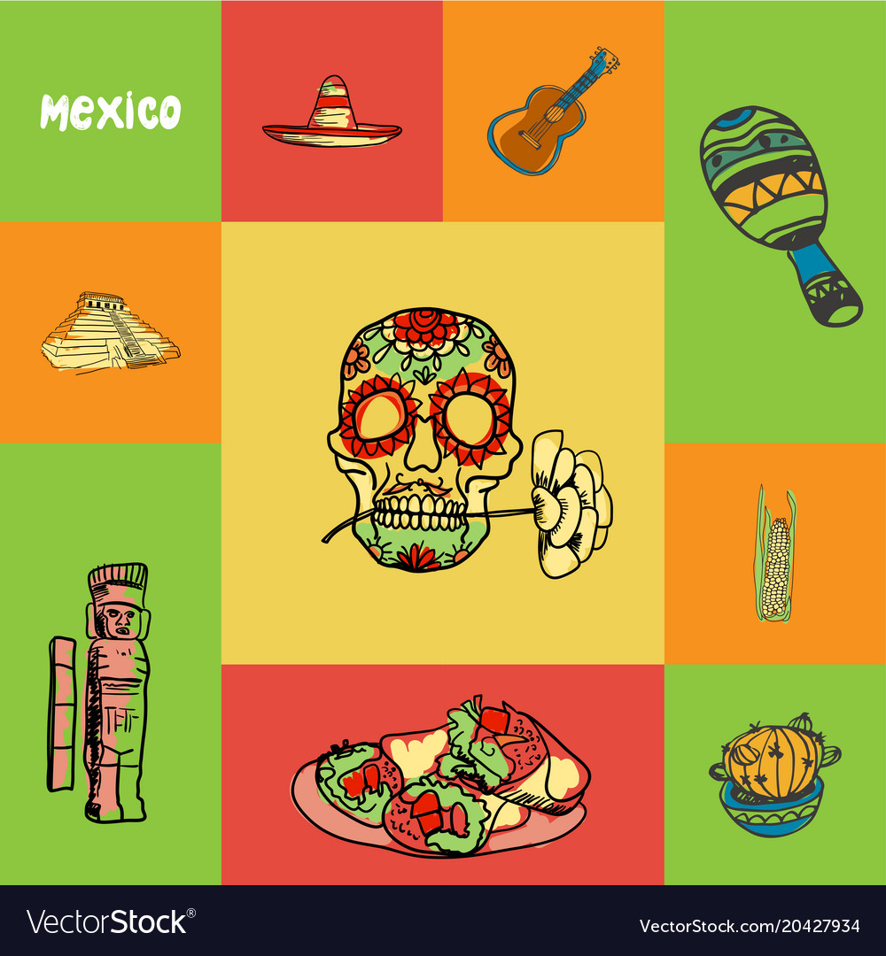 Mexico squared doodle concept
