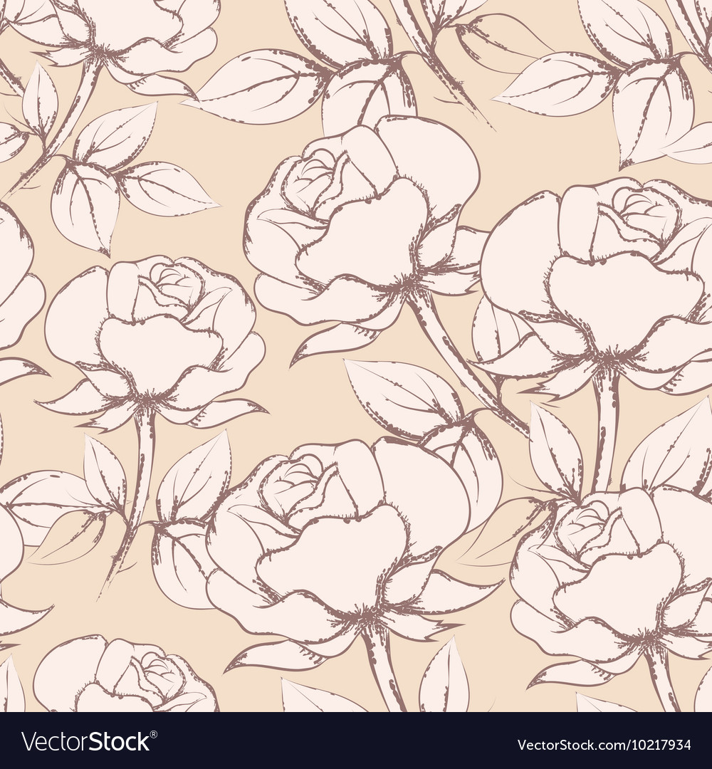 Rose Flowers Seamless Pattern in vintage style