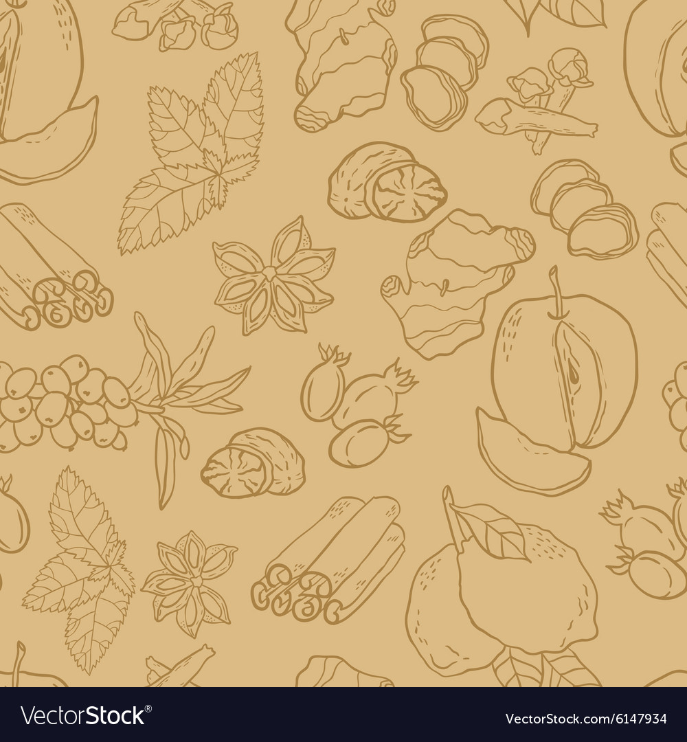 Seamless pattern with spices and berries