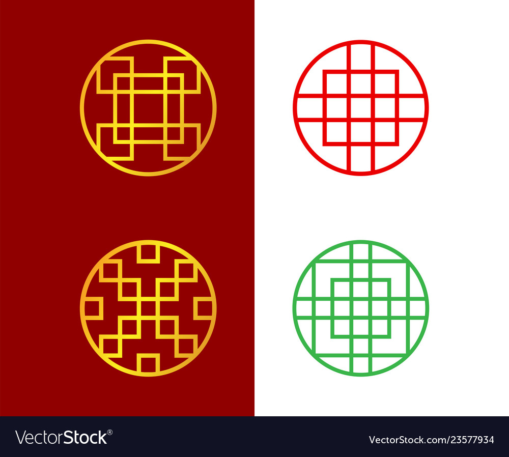 Set of circle chinese window frame art