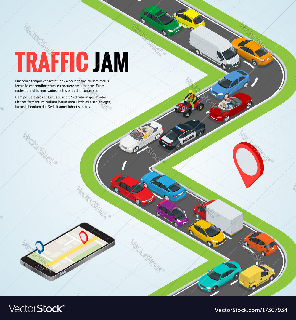 Traffic jam and road way location mobile gps