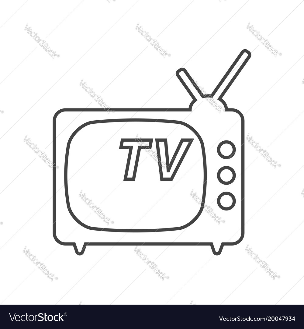 Tv icon in line style isolated on white