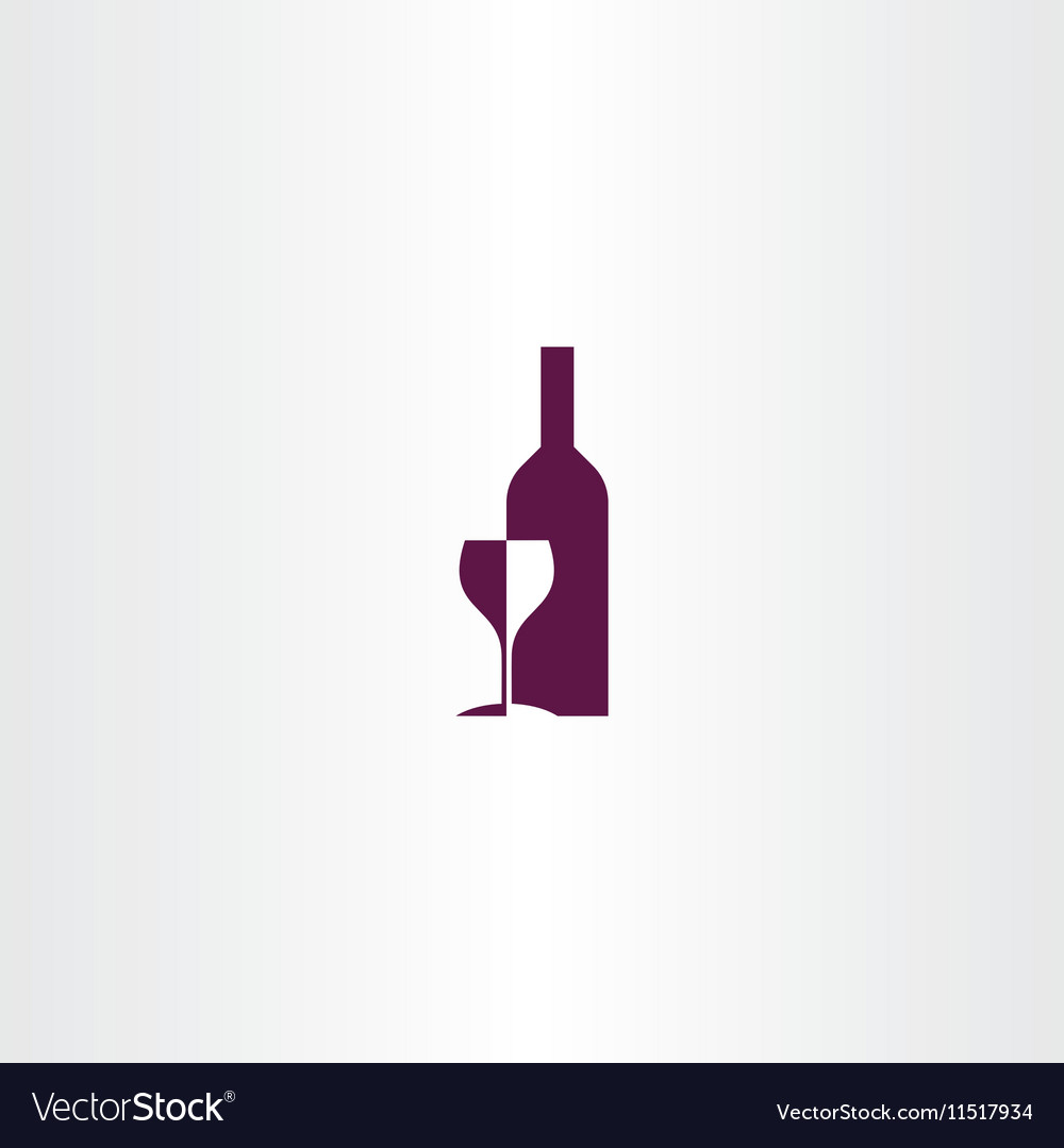 Wine glass and bottle logo icon design