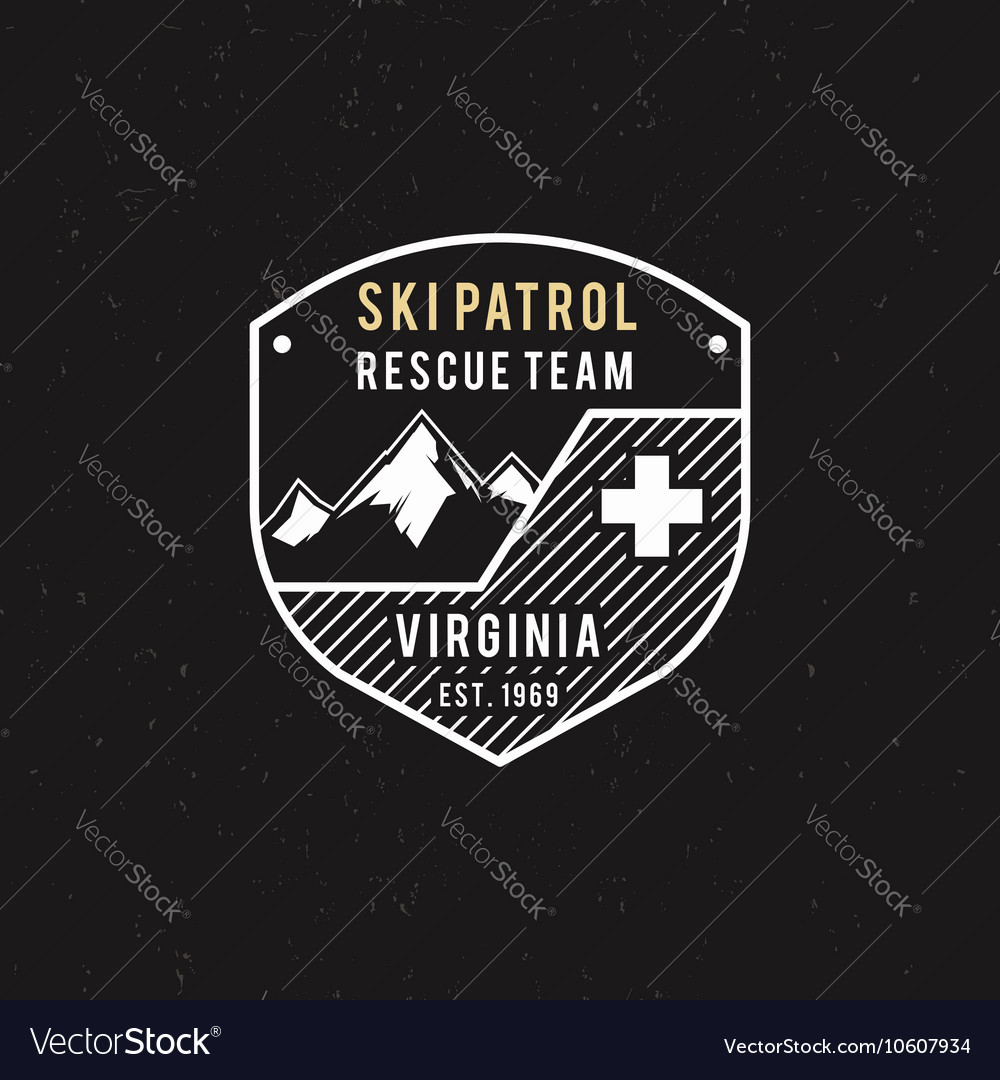Winter ski patrol rescue team label with vector image