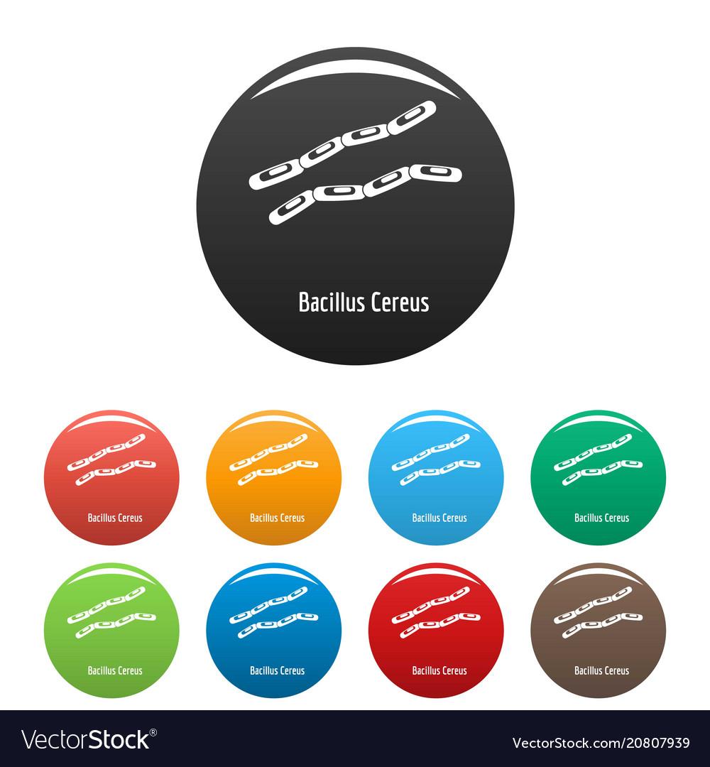 Bacillus cereus icons set color