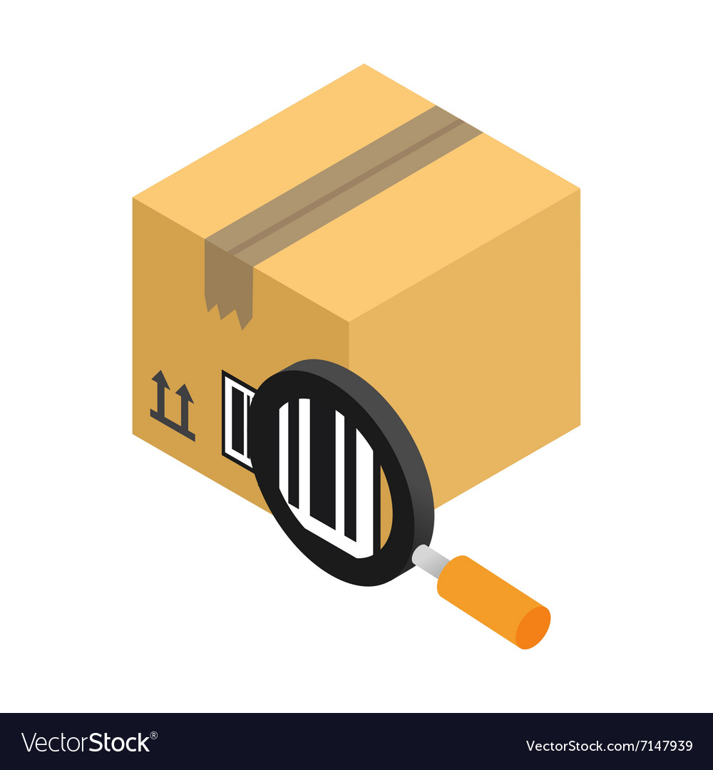 Carton with bar code and magnifying glass vector image